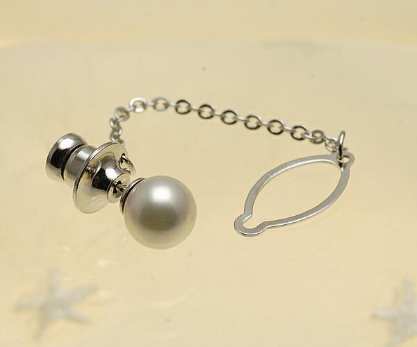 【真珠の本場 伊勢志摩よりお届け】ほのかなピンクが美しい♪8.0mm あこや本真珠 ネクタイピン【n1190】