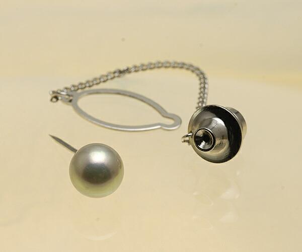 【真珠の本場 伊勢志摩よりお届け】厚巻きの真珠ならではの存在感♪8.0mm あこや本真珠 ネクタイピン【n1191】