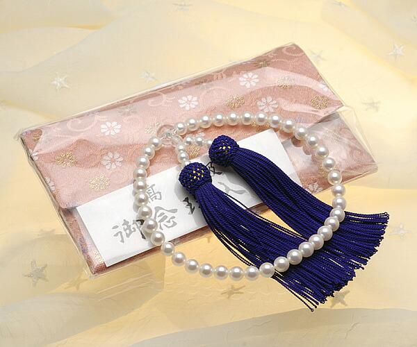 【真珠の本場 伊勢志摩よりお届け】華やかな淡いピンク♪6.5〜7.0mm あこや本真珠念珠【n1242】