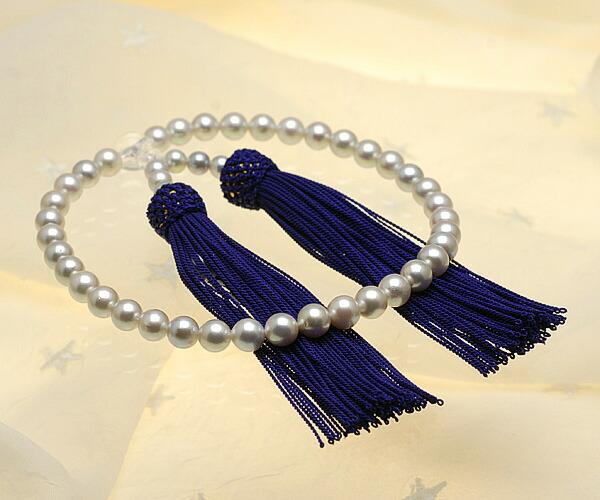 【真珠の本場 伊勢志摩よりお届け】シルバーグレーにほんのりピンク♪7.0〜7.5mm あこや本真珠念珠【n1486】