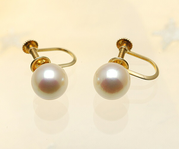 【真珠の本場 伊勢志摩よりお届け】まるでゴールドの様な輝き♪8.5mmあこや本真珠イヤリング(ネジ式)【n0567】