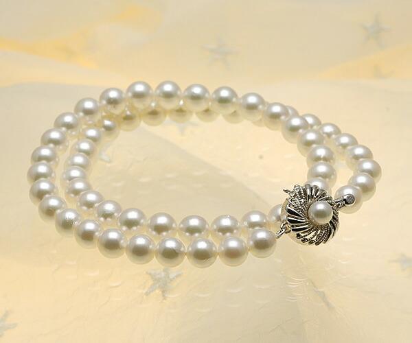 【真珠の本場 伊勢志摩よりお届け】淡い上品グリーン♪7.0〜7.5mmあこや本真珠ネックレス【n0728】