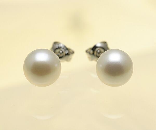 【真珠の本場 伊勢志摩よりお届け】落ち着いたホワイト♪7.5mmあこや本真珠ピアス【n1342】