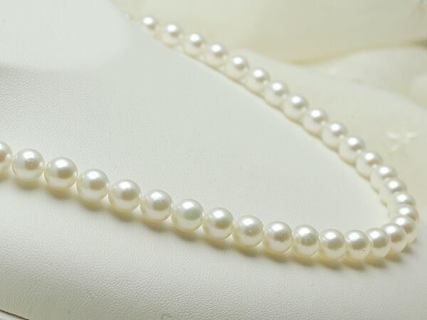 【真珠の本場 伊勢志摩よりお届け】7.5〜8.0mm品のあるグリーンカラー♪あこや本真珠ネックレス【n1356】