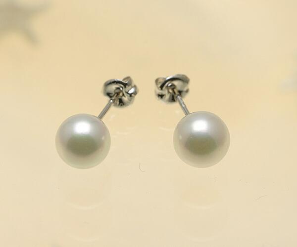 【真珠の本場 伊勢志摩よりお届け】ほんのりピンクに淡いグリーン♪6.0mmあこや本真珠ピアス【n1472】