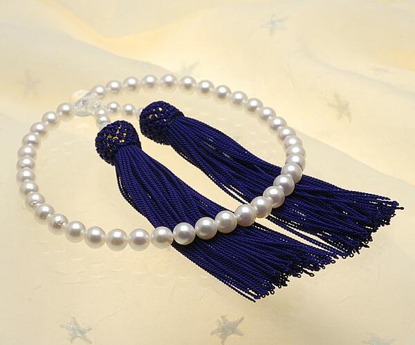 【真珠の本場 伊勢志摩よりお届け】淡いピンクが広がる♪6.5〜7.0mm あこや本真珠念珠【n1583】