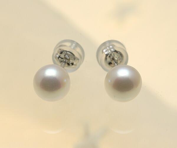 【真珠の本場 伊勢志摩よりお届け】淡い優しいピンク♪6.5mmあこや本真珠ピアス(WG14K)【n1622】