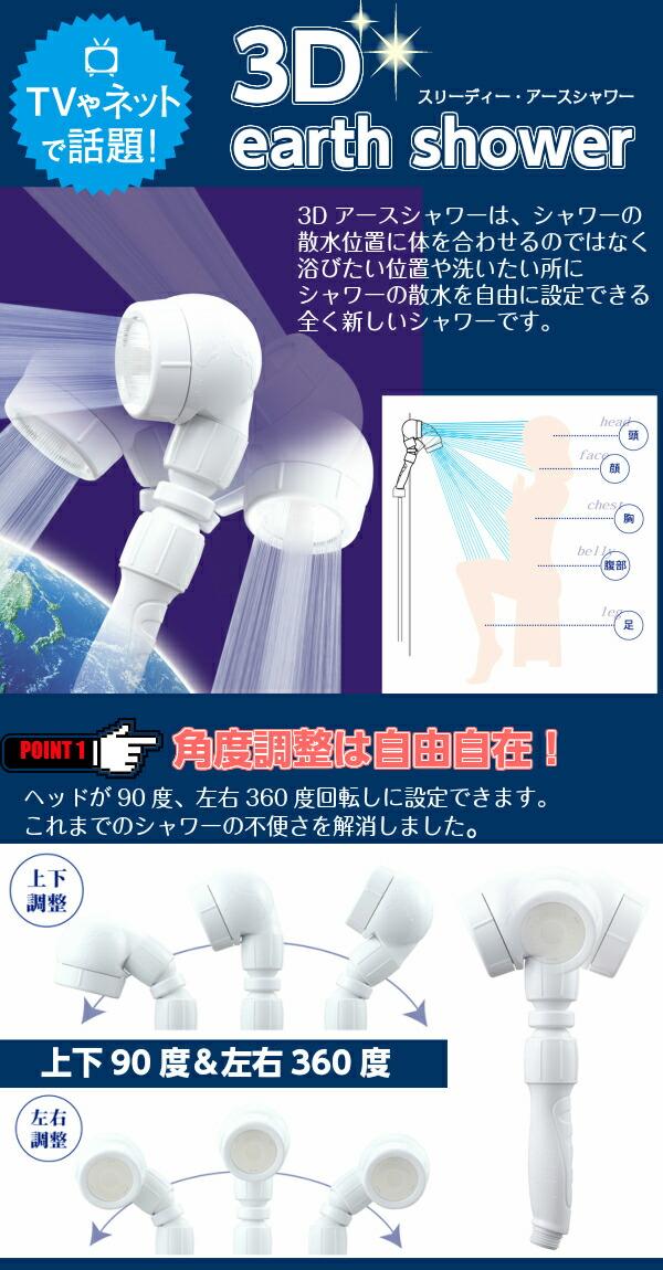 アラミック Arromic 3Dアースシャワー[3DE-24N]話題の節水シャワーヘッド!節水効果最大50%!