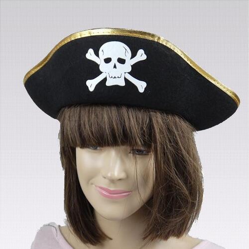 海盗船长帽子骷髅双桨划艇三角形帽子海盗帽子