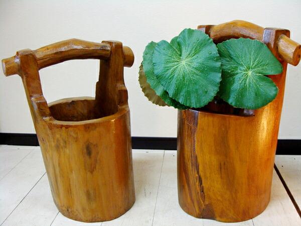 巴厘岛亚洲商品 柚木木材旧桶型罐 播种机花卉花瓶花壶花瓶木头柚木木