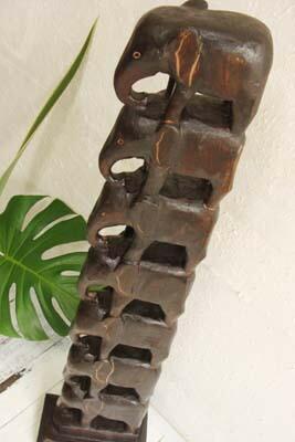 巴厘岛亚洲商品 大象图腾柱 1 m 雕像雕刻木头