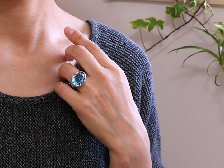 ブルートパーズリング,指輪