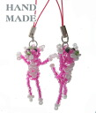 Handmade beads strap ◆◆ pink Panza ◆◆ mobile phone accessories & charm