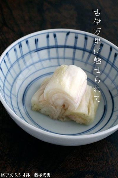 格子文5.5寸鉢・藤�光男