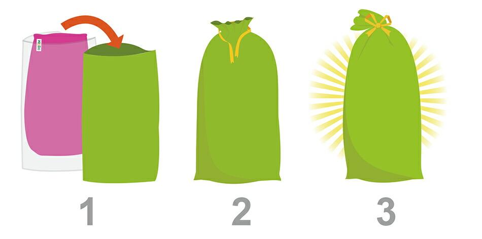 袋を入れ替えて、黄色のリボンで口を縛ります。