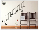Large-format wall sticker cats and stairs sign [wall sticker window black black wall stickers]