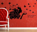"Large-format wall sticker ""rose girl"" a wall sticker window black"