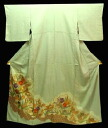 Silk color tomesode kimono (B) tailoring up Aperture saaya-jimon color tomesode thin tea area with gold color embroidered flower pattern.