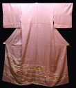 Pure silk colour tomesode kimono ( N) with flow in the bright rose kimono rose noshi four seasons flower pattern.