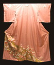 Pure silk colour tomesode kimono (U) cut up kimono rose pink copper foil fan Chrysanthemum pattern 10P27Sep14