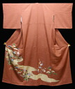 Pure silk colour tomesode kimono ( R) cut up thin bean kimono flow in Chiku pattern