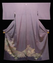 Pure silk fabrics colored formal kimono kimono (it is tailored, and it is likely a chrysanthemum to a peony in the kimono light purple place T))