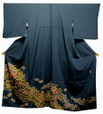 Pure silk colour tomesode kimono ( I) tailoring up group blue kimono Tsuji's flower pattern.
