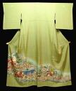 Pure silk colour tomesode kimono ( F) tailoring up moegi color kimono in the Kaga-style large pattern