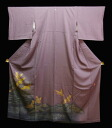 Pure silk colour tomesode kimono ( Z) with up to fly the 松ばやし waves on thin purple kimono gold Sai crane Mo like Super beauty products! 05P02jun13