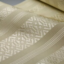 Pure silk Hakata-Ori textile gauze presenting eight tsumugi three cream ( 3-No.8 )