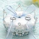 ★ PanAm Crystal Crown ring pillow (blue) /WW-112 [wedding / accessories / handmade Kit]