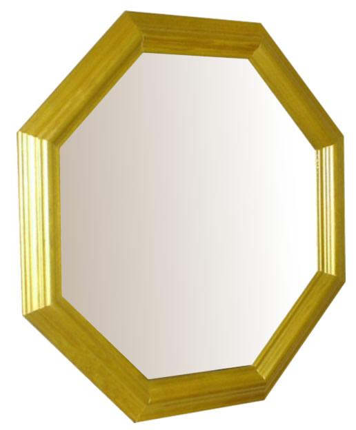風水正八角形ウォールミラー ゴールド