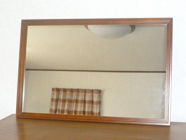 国産 ビッグ フレーム ウォール ミラー 三段カット 鏡 壁掛け鏡 送料無料 代引手数料無料 ブラウン