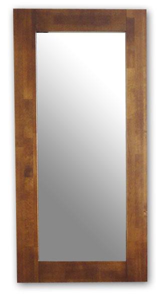 極太フレームミラー,ブラウン[送料無料,幅広フレーム,ミラー,60×120cm,鏡,立て掛け鏡]
