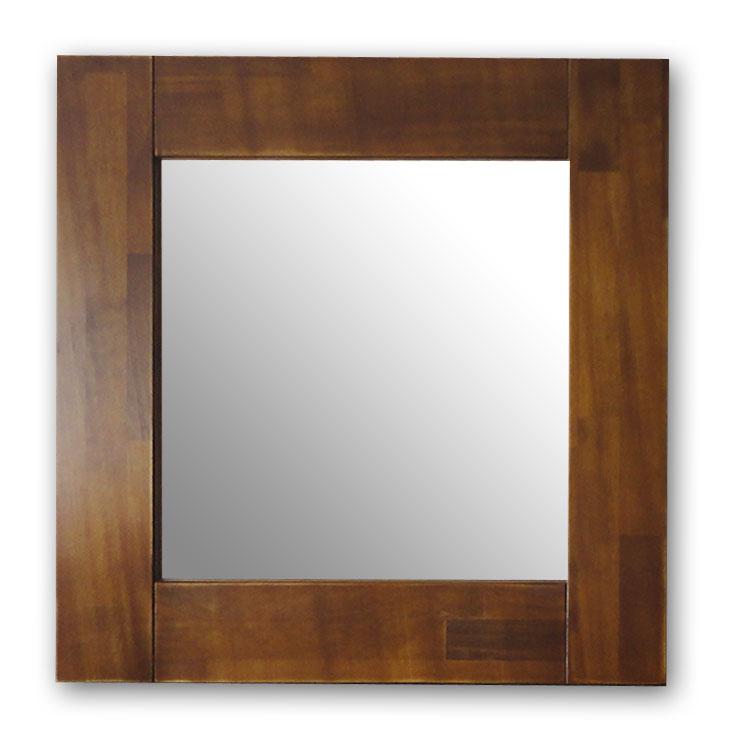 極太フレームミラー,ブラウン[送料無料,幅広フレーム,ミラー,60×60cm,鏡,立て掛け鏡]