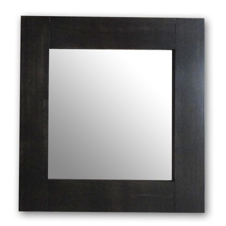 極太フレームミラー,ダークブラウン[送料無料,幅広フレーム,ミラー,60×60cm,鏡,立て掛け鏡]