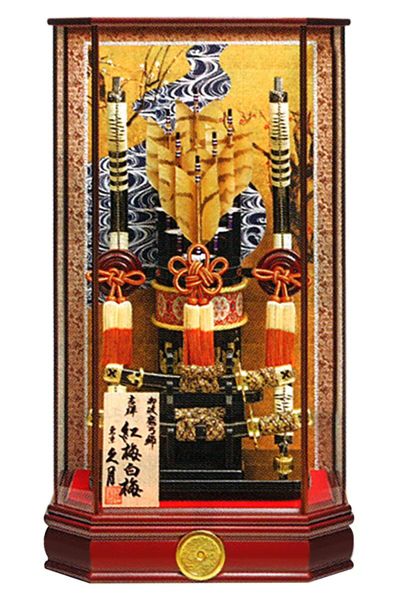 吉祥 紅梅白梅図 23号 黒壇塗六角ケース カブセケース オルゴール付