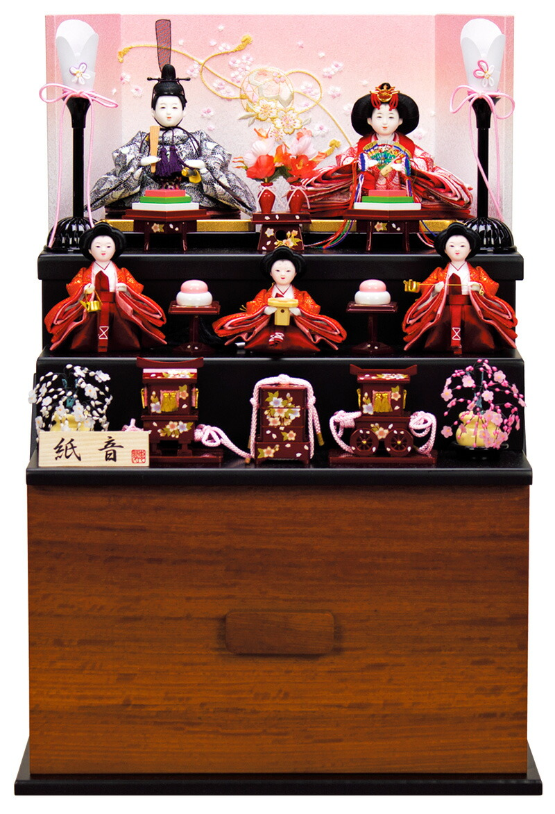 恵翠作 紙音 京十四番親王 二寸官女 スライド引出式収納箱 マリ桜屏風
