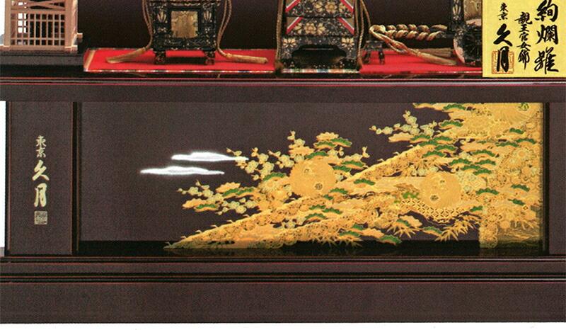 絢爛雛 西陣織金襴 段織刺繍仕上 十番親王 三五官女 桐製 駿河古典蒔絵 オリジナル頭