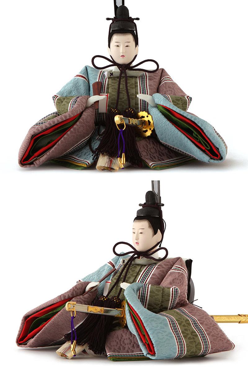 柴田家千代作 古典のお雛さま 寿楽黒 金沢箔 三五親王