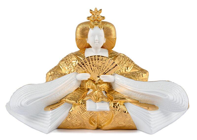 ミンロン社製 ポーセリン雛 磁器人形 陶器の雛人形 ゴールド