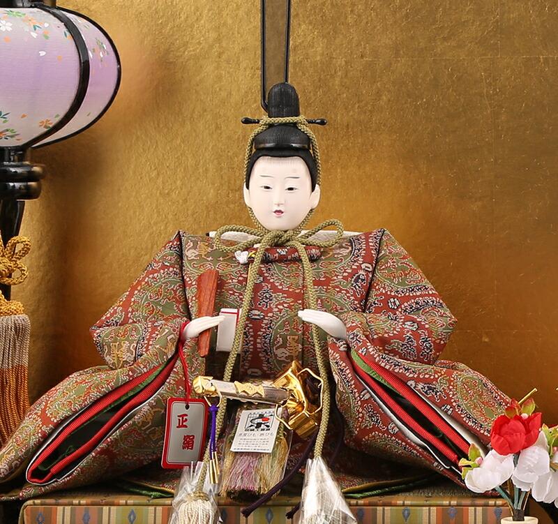柴田家千代作 古典のお雛さま 円文白虎朱雀錦 龍村美術織物