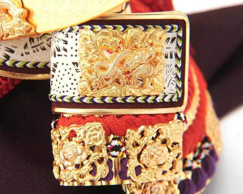 兜12号 一枚物 朱赤 正絹縅 雲龍 本金箔押 白檀塗 本金鍍金