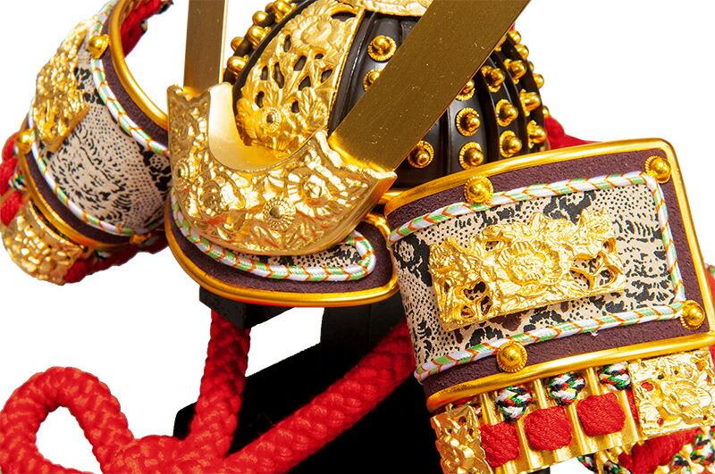 忠保作 岳 純金箔押 純金鍍金金具 本革仕立 本正絹絲威 矧板合わせ鉢 8号