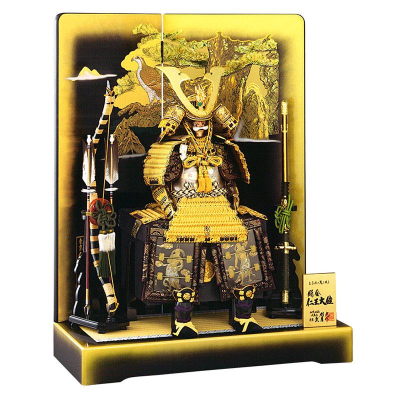 鎧平飾り 利光監製 彫金仁王大鎧 正絹緋縅 10号