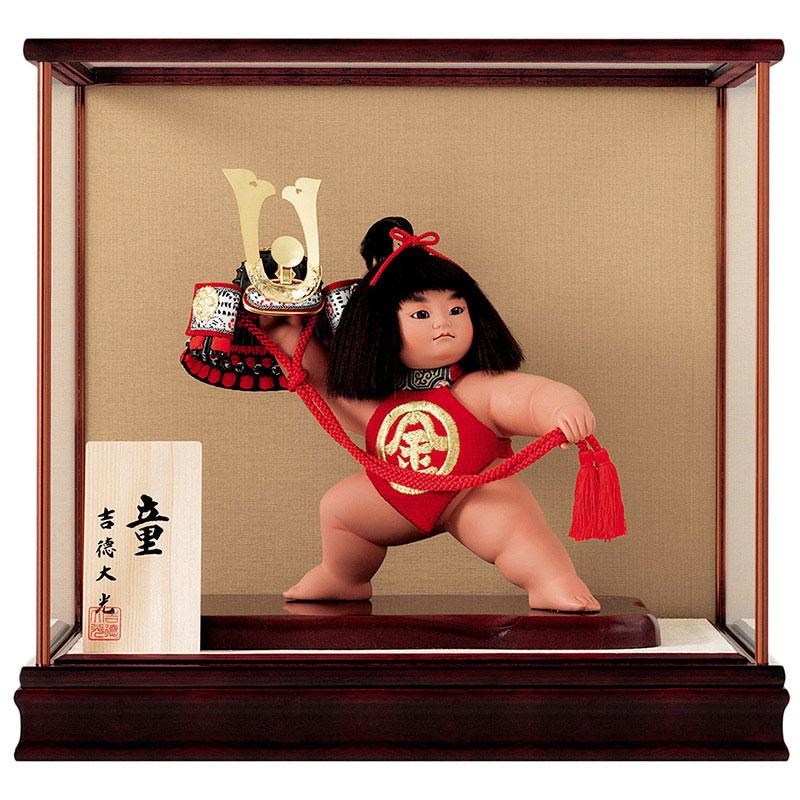 浮世人形 ケース飾り8号 童 兜持ち