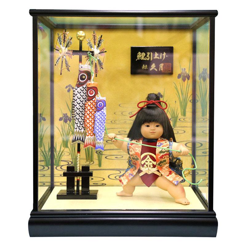 ケース飾り 浮世人形裸金太 鯉引上げ 8号 都印86