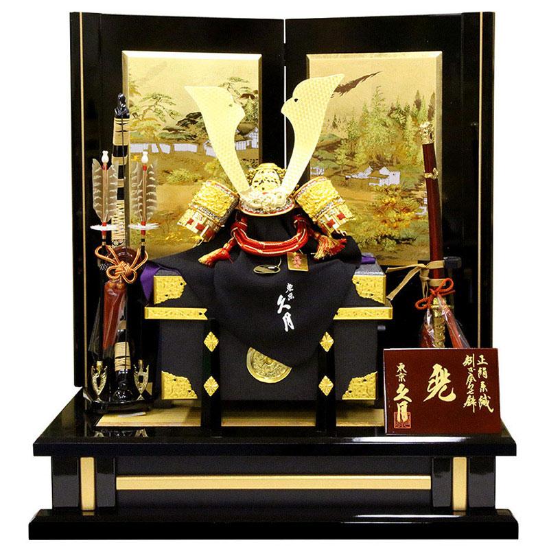 兜平飾り正絹茜糸縅 12号 高雄秋景二曲屏風