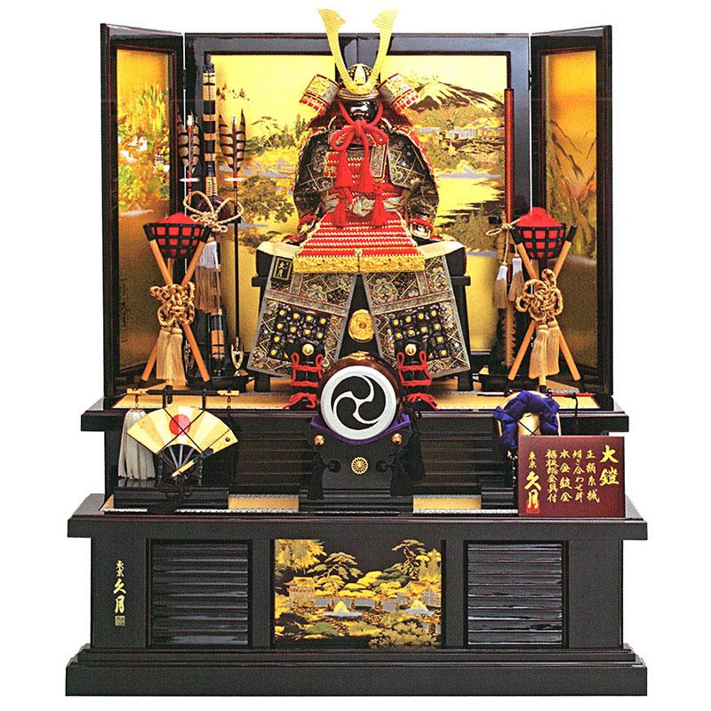 鎧段飾り 正絹赤糸縅 12号大鎧 高雄秋景桐枠屏風二段