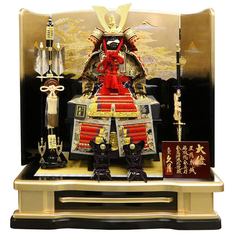 鎧平飾り正絹赤糸褄取縅 8号大鎧 春爛漫屏風
